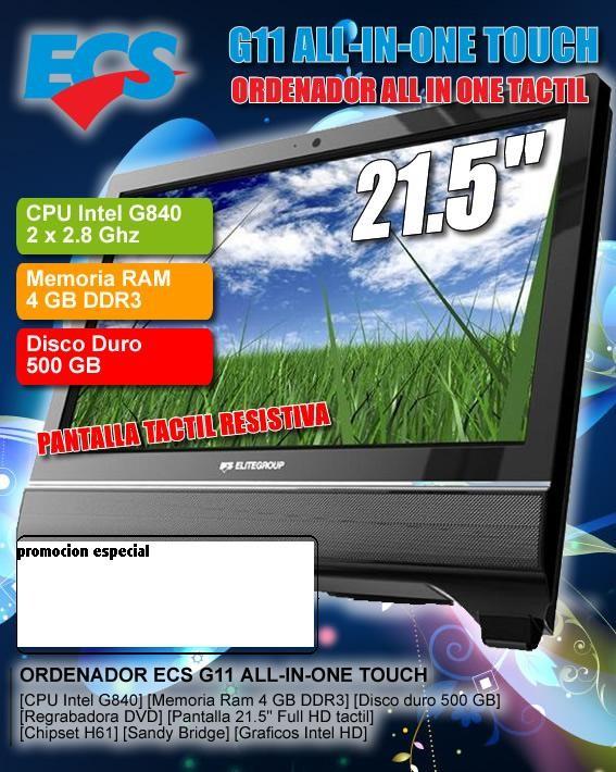"Ordenador ALLINONE ECS G11-21ERS6BE Intel I3-2100 3.1Ghz/4G/500Gb/TFT 21.5""/DVDRW/HDMI/CAM/Card-Reader"